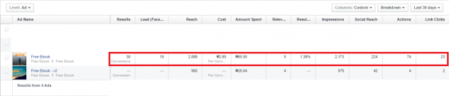 Facebook Ad Result of My First Testing Ad Report Ad 1